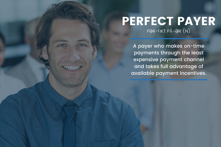 Businessman in a business setting defining a perfect payer