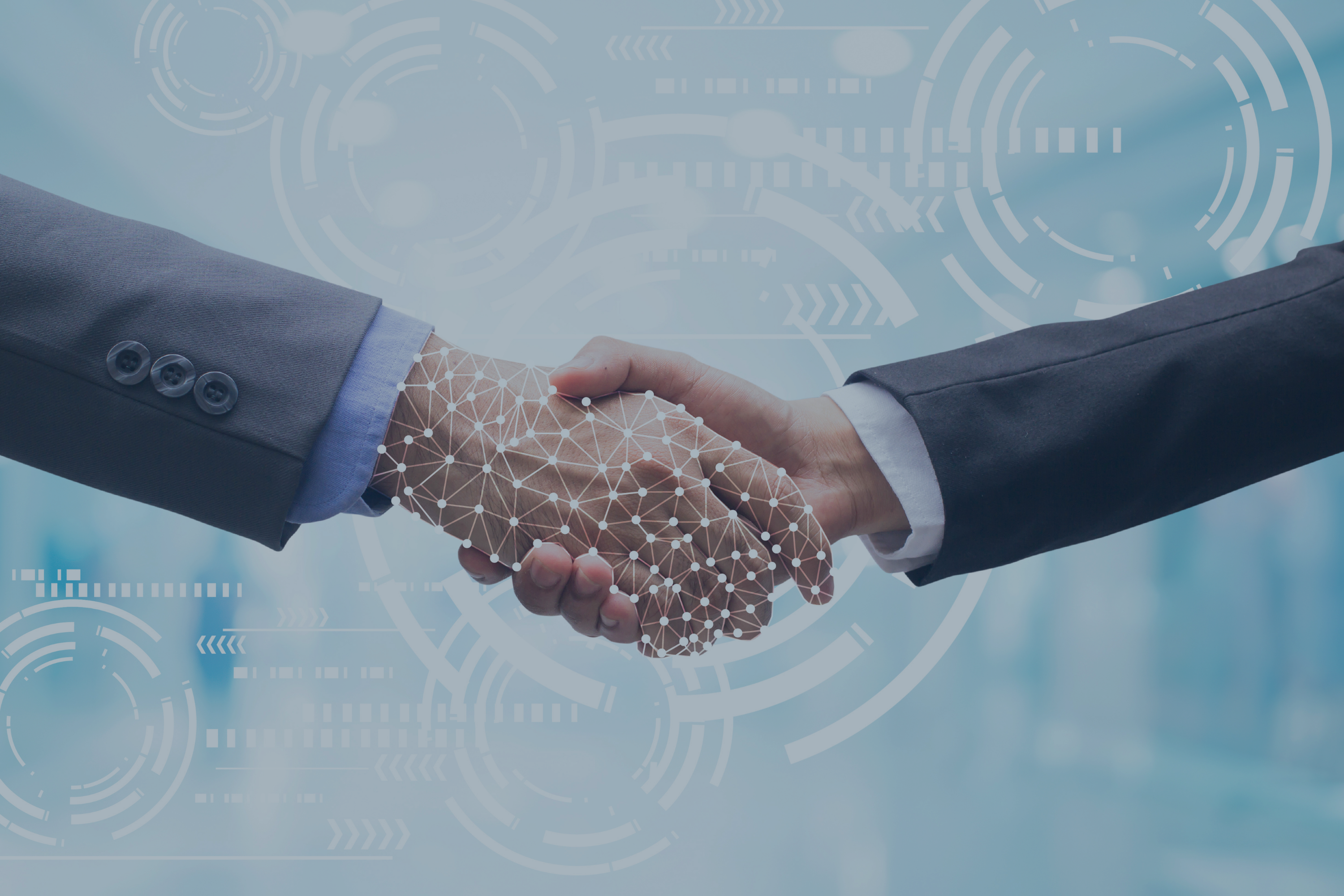 close_up_businessman_handshake_with_business_artifical_intelligence_AI_on_motion_blur_background_with_virtual_hologram_interface_processing_for_future_technology