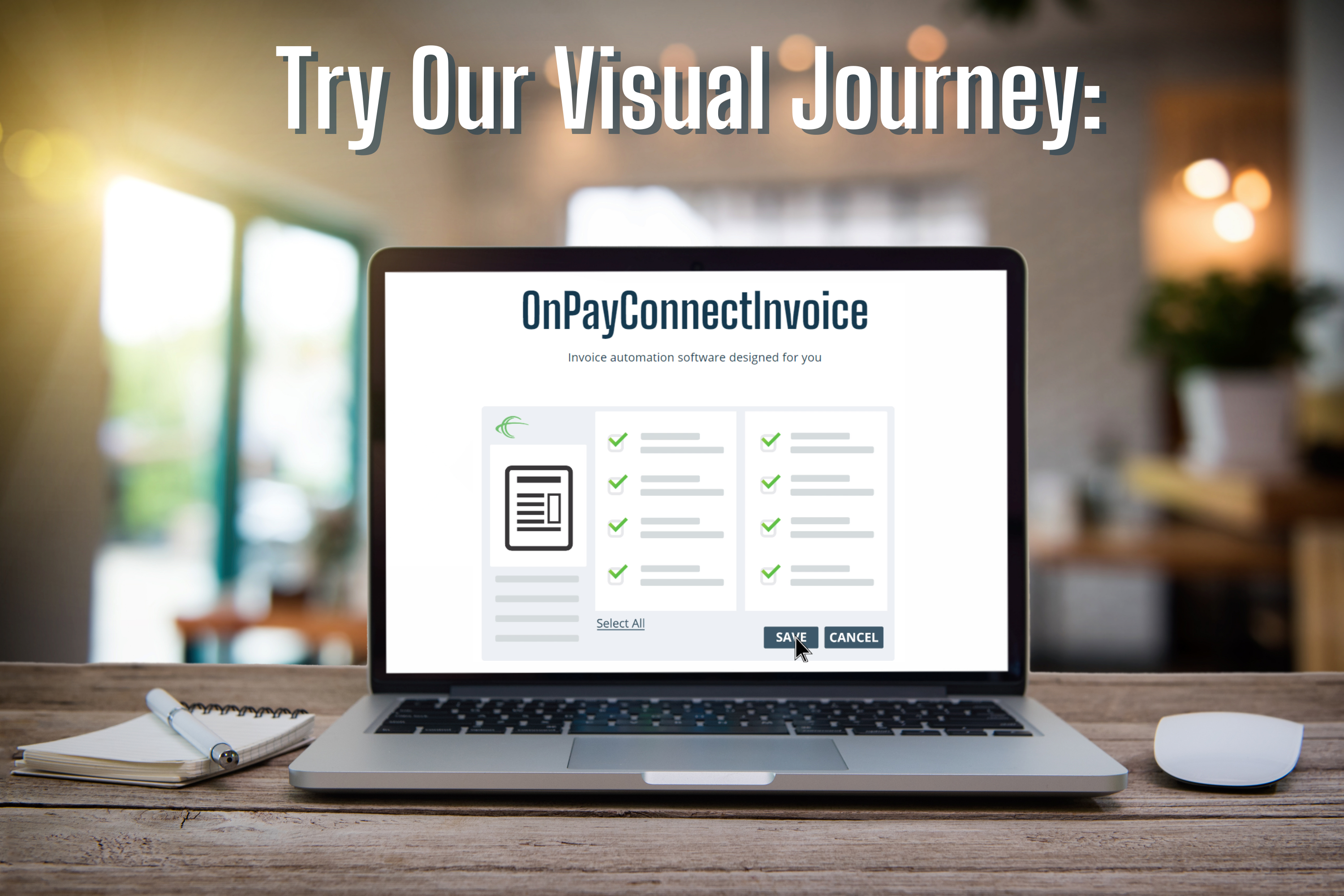 desk laptop with screen showing onpayconnectinvoice automation software visual journey