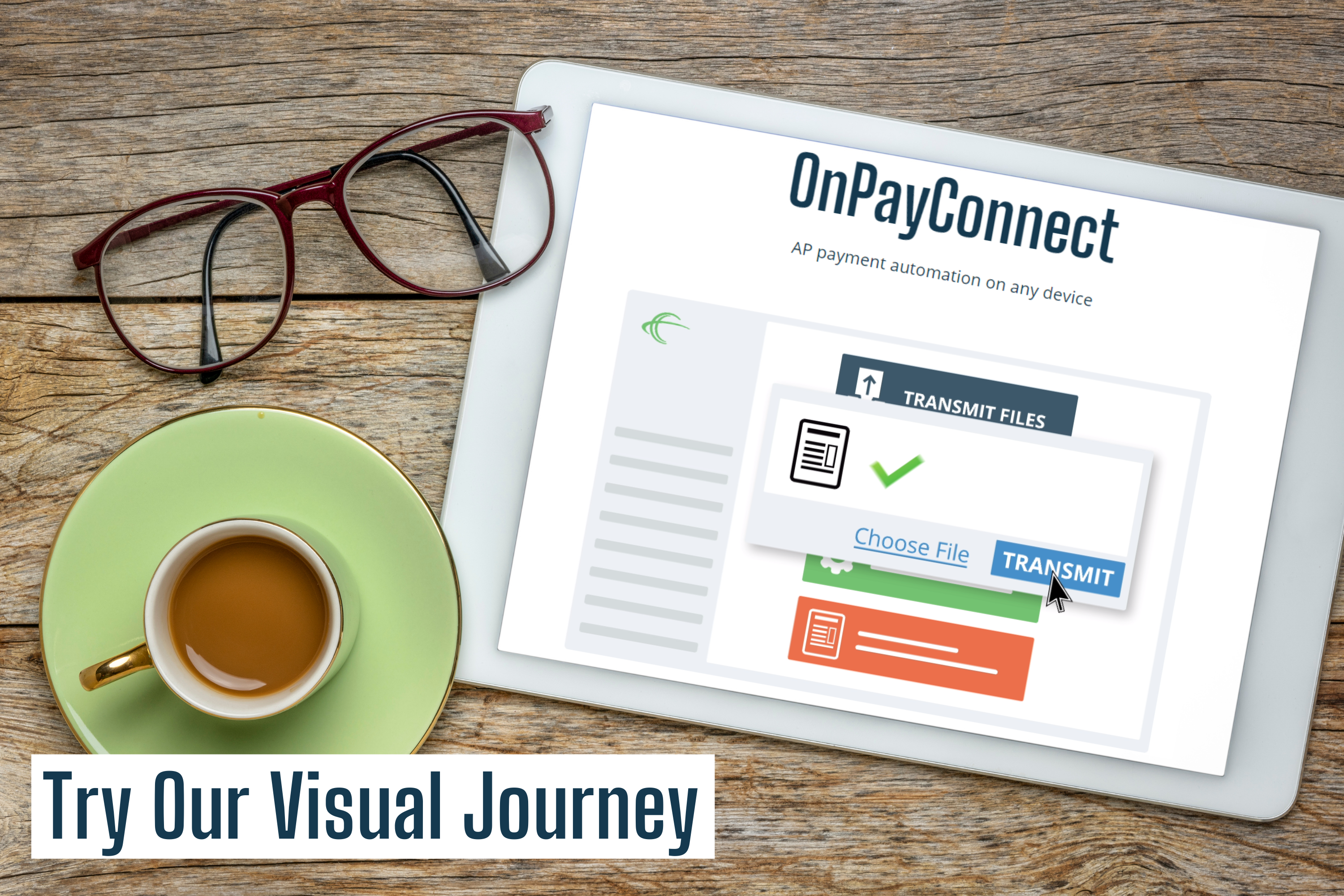 digital tablet with screen showing onpayconnect payment automation software visual journey