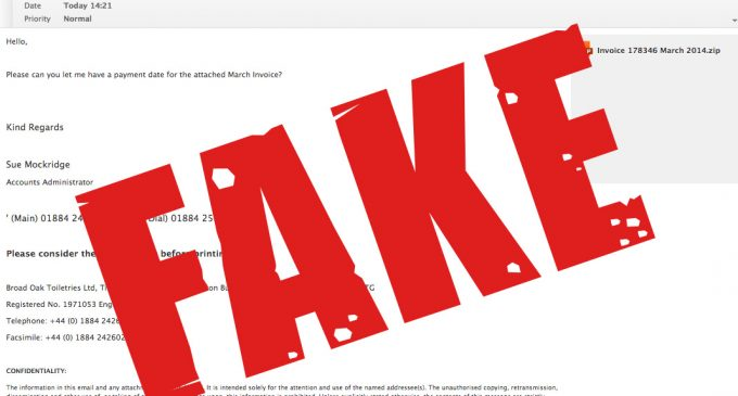 image of flagged fraudulent invoice with the word fake