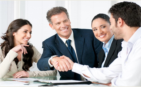 employee relations - group of business people shaking hands
